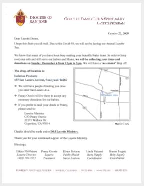 Layette Program flyer 2020