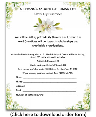 Easter Lily order form 2021